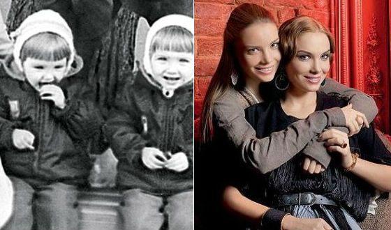 Сестры Арнтгольц в детстве и сейчас
