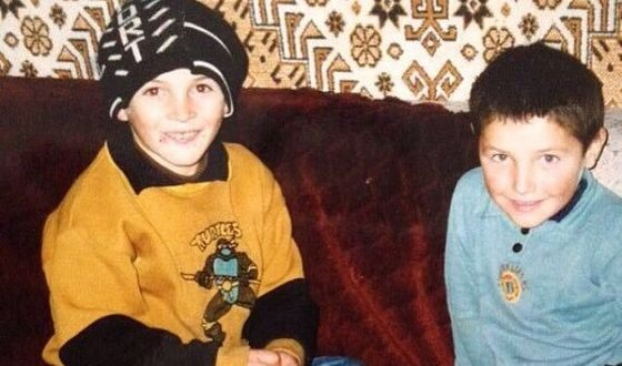 Khabib Nurmagomedov as a child with his brother