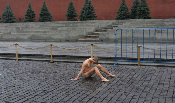 The most famous action of Peter Pavlensky is nailing the scrotum to Red Square.