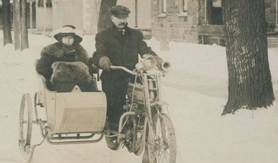 One of the first Bombardier snowmobiles - with a sidecar