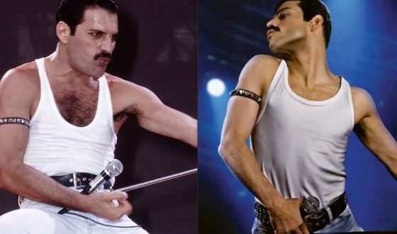 On the left: Freddie Mercury, on the right: Rami Malek