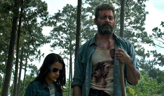 "Hugh Jackman and Dafne Keen on the set of ""Logan"""