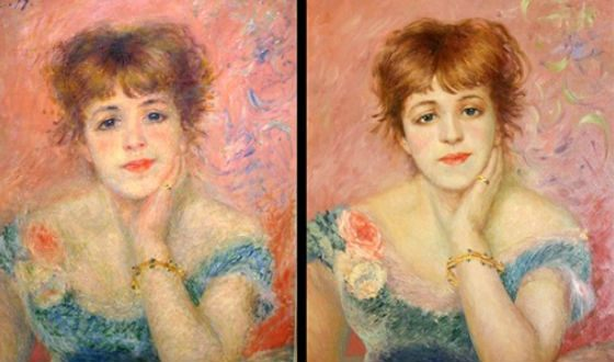 """Copy of Renoir's painting """"Portrait of Actress Jeanne Samary"""""""
