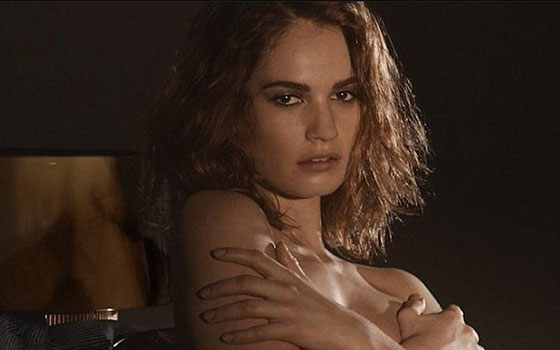 Lily James posed nude in a perfume's commercial