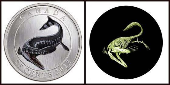 In the dark on the coin lit dinosaur skeleton