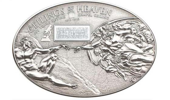 The coin depicts the plot of the painting by Michelangelo.