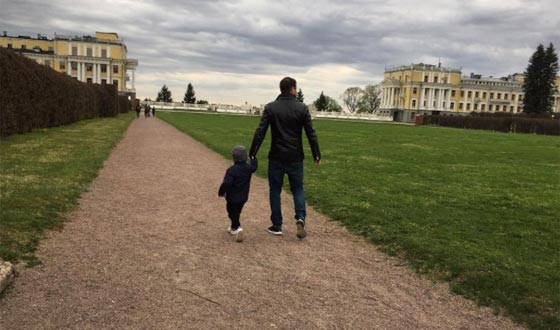 Alexey Chadov on a walk with his son