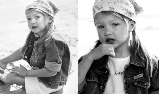 The very first photosession of Gigi Hadid (Baby Guess)