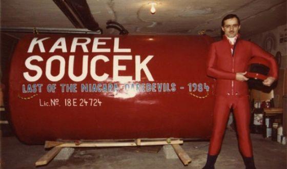 Karel Soucek with his red capsule