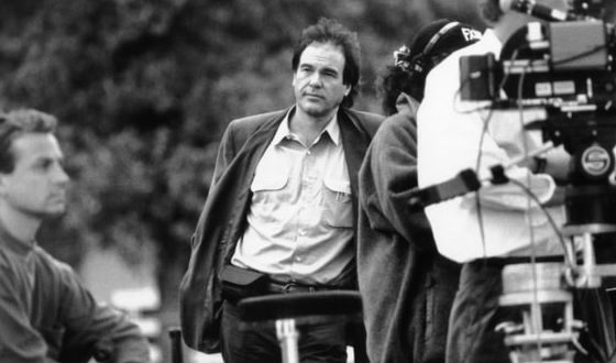 Oliver Stone on the set of the movie about the assassination of John Kennedy
