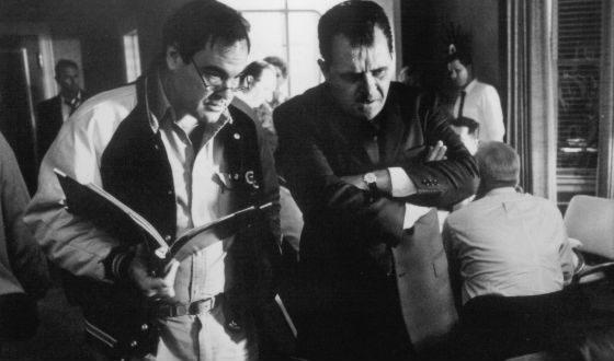 Oliver Stone and Anthony Hopkins, 1996