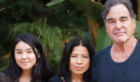 Oliver Stone with his wife and daughter