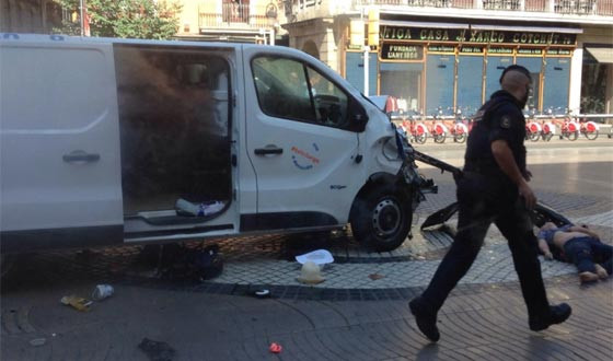 In Spain, terrorists entered the crowd in a minivan