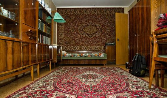 The interior of a typical Soviet apartment: carpet must be at least two