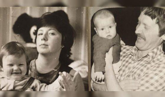 Маленькая Татьяна Арно с родителями