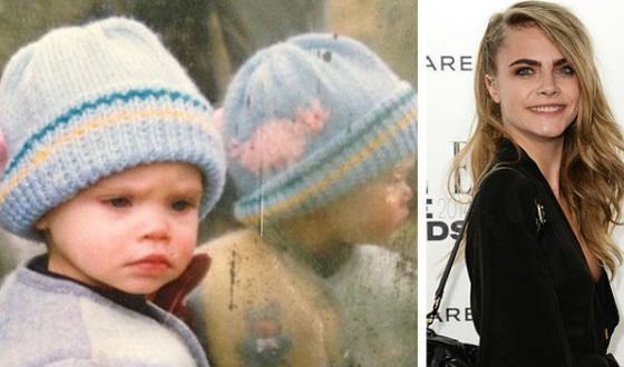 Cara Delevingne in childhood and now
