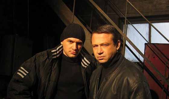"Alexander Mosin (right) on the set of the film ""The Fireman"""