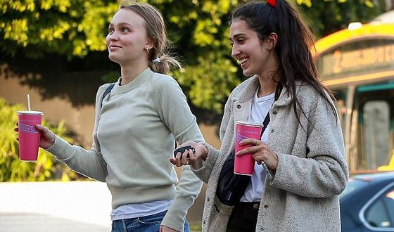 Lily-Rose Melody Depp on a walk with her female friend