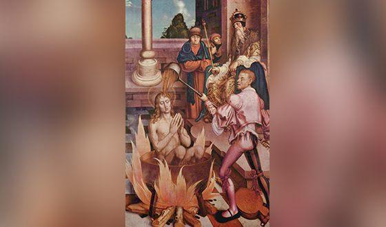 Иоанн Богослов в кипящем масле (картина Ханса Фриса)