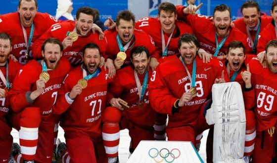 Russian national hockey team won the Olympics for the first time since 1992