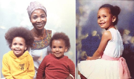 Tandy newton childhood with mom and brother