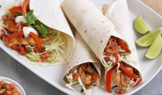 Fajitas - Mexican tortilla with meat and vegetables