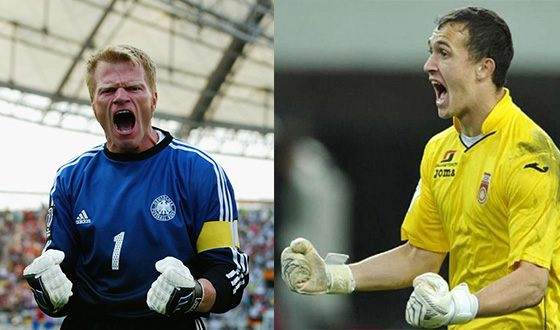 Andrei Lunev and his childhood idol Oliver Kahn (left photo)
