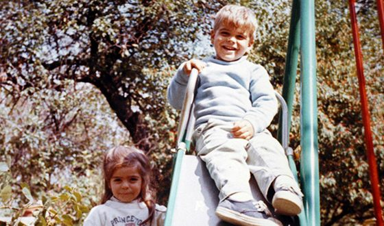 George Clooney in childhood with his sister