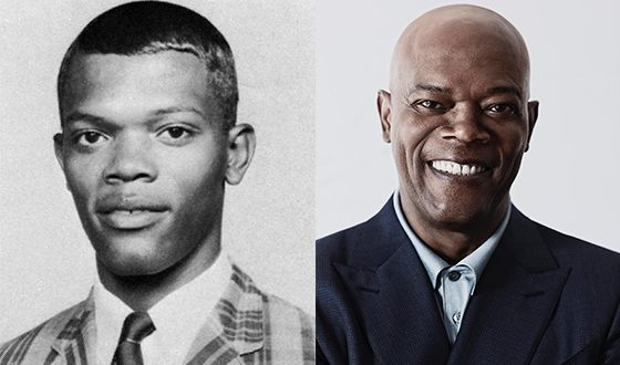 Samuel L. Jackson in his youth and now