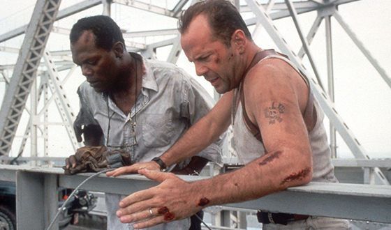 "Samuel L. Jackson with Bruce Willis in the action ""Die Hard 3"""