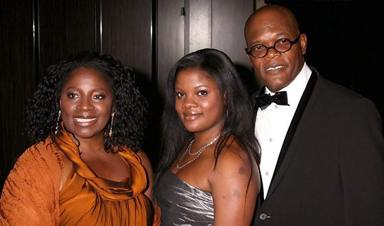 Samuel L. Jackson with his wife and daughter