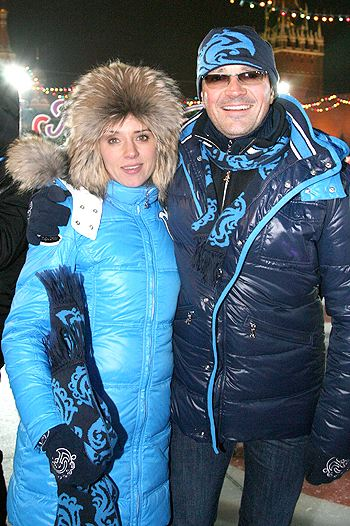 Egor and Ksenia at the opening of the rink