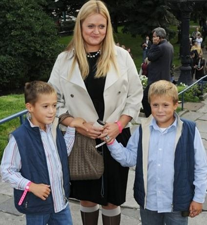 Anna with two sons Andrey and Sergey
