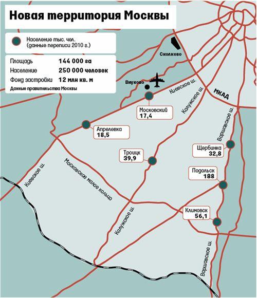 Карта расширения Москвы за счет Московской области