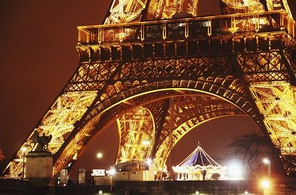 At the foot of the Eiffel Tower