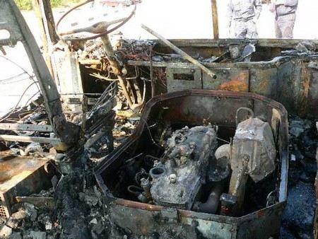 В Челябинске ночью при пожаре сгорело 9 автобусов.