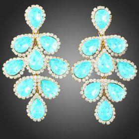 Серьги «Лазурные» с голубыми цирконами и кристаллами