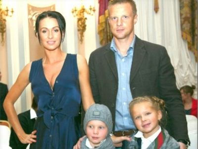 With Catherine and children