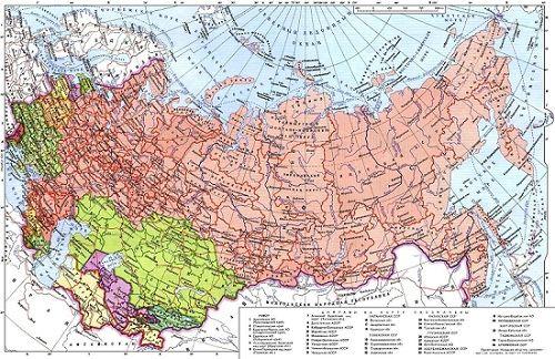 Политико-административная карта СССР