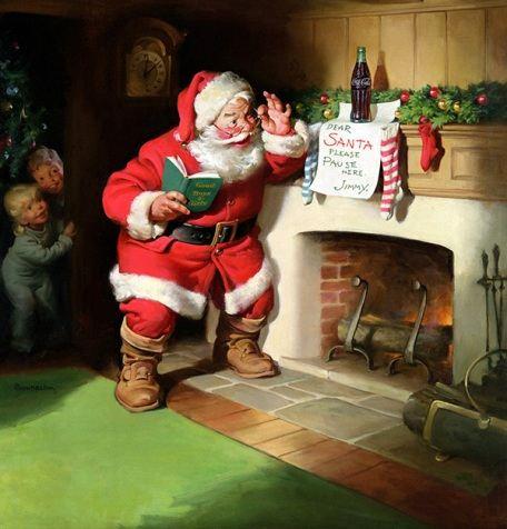 Санта-Клаус появляется в доме через каминную трубу