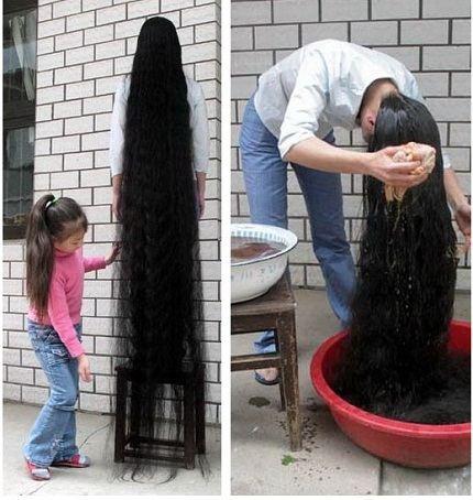 Девочка в мире с самыми длинными волосами