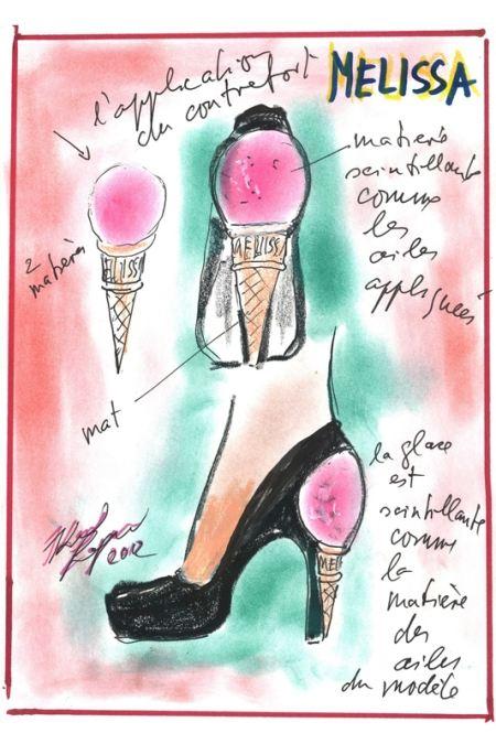 Эскиз туфли с каблуком-мороженым