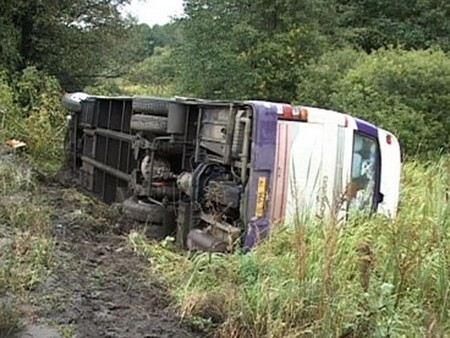 В Самарской области перевернулся автобус с пассажирами.