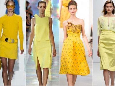 Оттенки желтого делают образ солнечным и радостным