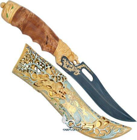 Нож Волк из дамасской стали