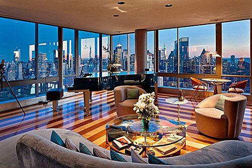 Интерьер элитных видовых апартаментов в Нью-Йорке