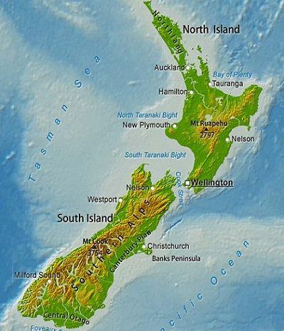 Детальная рельефная карта Новой Зеландии