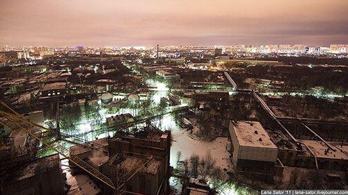 Ночная панорама города Химки