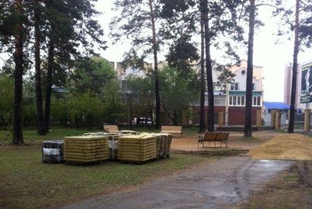 В парке уложат тротуарную плитку