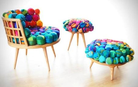Мебель из обрезков шелка